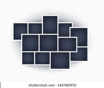 Lots of frames for different photos and images, with shadow. Vector retro mosaic. Collage template. The object on an isolated light background.