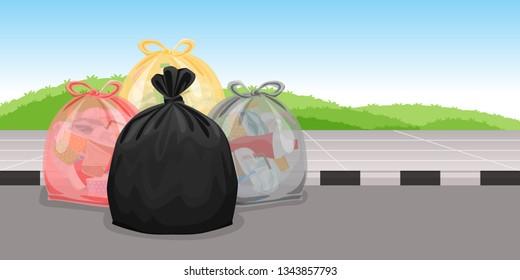 lots of garbage bags plastic waste at walkway floor, many trash bag plastic, lots of garbage bags plastic, pile garbage waste, pollution waste, 3r