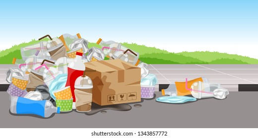 lots garbage waste plastic at walkway floor, many trash bottle paper box and glass plastic straws waste, lots of garbage bags plastic, pile garbage waste, pollution waste, 3r