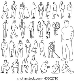 Lots of Men Line Style Drawing 01