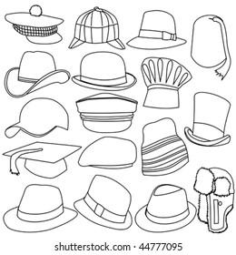 Lots of Mens Hats Line Style Set 01 9675cda363d3