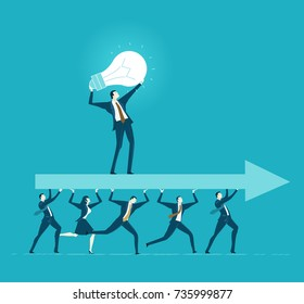 Lots of office workers running and caring the big arrow with leader staying on top of it. Team, working together, coordination and developing business concept.