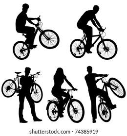 Lots of people, bicycles, set