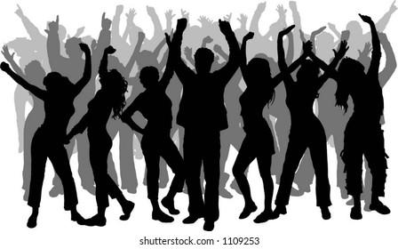 Lots of people dancing - vector