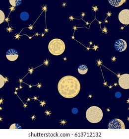 Lots of planets. Seamless vector pattern with different celestial bodies.