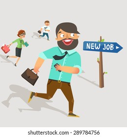 "Lots of workers jumping to the new job. Road sign with ""New Job"" direction. Businessman in suit holding brief case and smart phone, moving and smiling happily. Vector colorful flat  illustration."