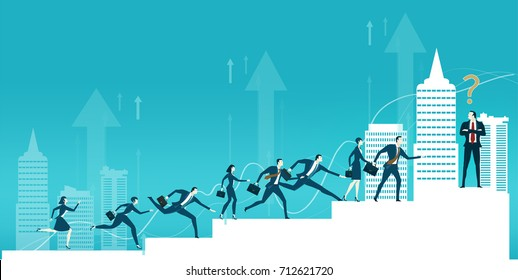 Lots of young business people running and jumping over the stairs on the way to the best professional position. Business concept illustration.