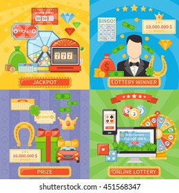 Lottery 2x2 design concept set of online lottery and jackpot compositions and prize and winner flat icons vector illustration