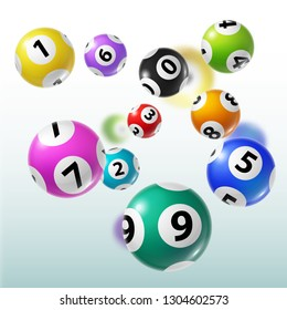 Lottery balls 3d vector of bingo, lotto or keno gambling games. Colourful spheres with numbers of winning combination. Gaming sport or leisure activity themes
