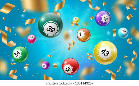 Lottery balls 3d vector bingo, lotto or keno gambling games colourful spheres with lucky numbers of winning combination falling with gold confetti. Gaming leisure activity recreation, lottery raffle