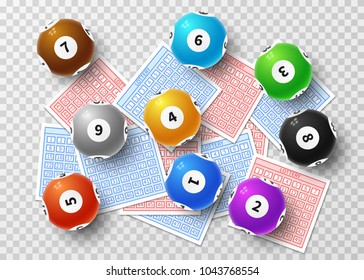 Lottery balls and bingo lucky tickets isolated on transparent background. Sports gambling vector concept. Lucky game bingo and ticket, lottery lotto sphere number ball illustration