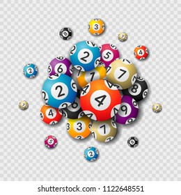 Lottery balls on transparent background. Balls and numbers of lotto vector design. Lotto bingo game luck concept illustration. Realistic  isolated lottery balls.
