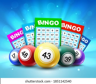 Lottery balls and tickets, 3d vector bingo lotto cards with numbers, keno gambling games. Colourful realistic balls and betting slips with lucky numbers, gaming industry and casino advertising design