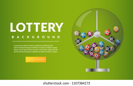 Lottery banners with realistic icons balls and place for text isolated on white. Balls and numbers of lotto vector design. Lottery machine with lottery balls inside. Lotto bingo game illustration.