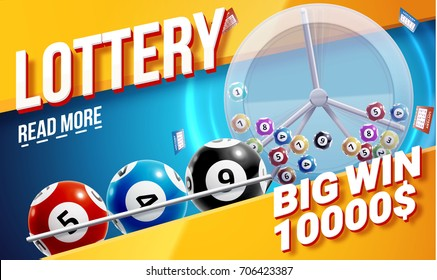 lottery banners with realistic icons balls coins lottery ticket and place for text isolated on white