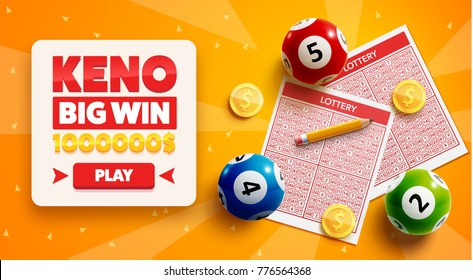 lottery banners with realistic icons balls coins lottery ticket and place for text isolated