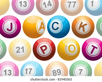 lottery or bingo balls spelling out the words 'jackpot' on a white background
