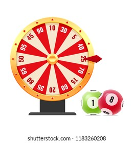 Lottery, bingo, lotto, random casino wheel. Spinning roulette wheel with numbers, with random combinations. Balls with numbers for game, drawing prizes in lotto. Victory, luck. Vector illustration.