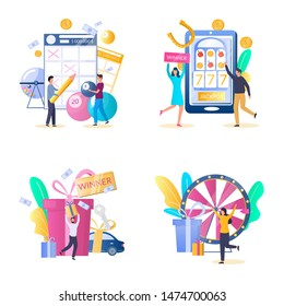 Lottery and casino gambling icon set, vector illustration isolated on white background. Lucky people playing slots, fortune wheel and bingo, keno, lotto lottery games, taking part in prize drawing.