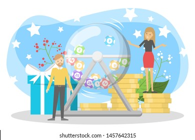 Lottery concept. Gamble and bingo. Play game and win money, great opportunity. Hobby or addiction. Isolated vector illustration in cartoon style