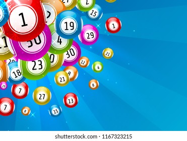 lottery game, balls with numbers, on a colored background. Vectors illustration