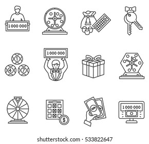 Lottery icons set. Winning lotto, thin line design. The prize in gambling, linear symbols collection.