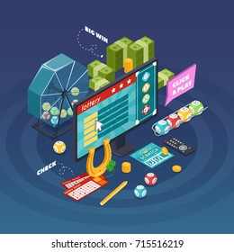 Lottery isometric composition with gambling symbols on blue background vector illustration