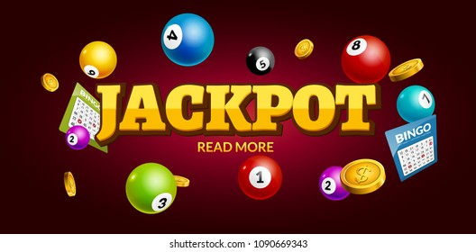 Lottery Jackpot background with tickets, coins and balls. Vector lotto bingo winner bonus.