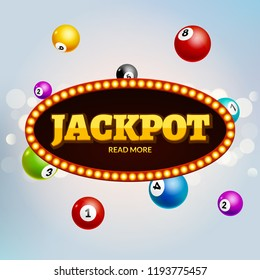 Lottery Jackpot bingo colorful background. Lotto vector gambling leisure ball. Jackpot winner.