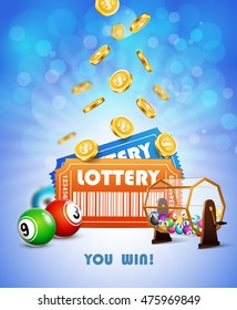 Lottery Jackpot with tickets, wheel, coins and balls.