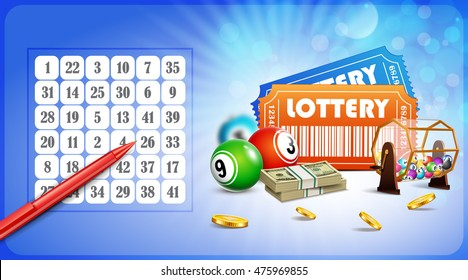 Lottery Jackpot with tickets, wheel, coins, pen and balls.