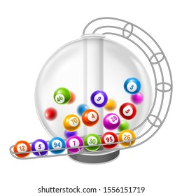 Lottery machine with balls inside. Lotto or bingo game wheel drum.