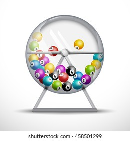 Lottery machine with lottery balls inside. Lotto bingo game luck concept illustration. Wheel drum leisure
