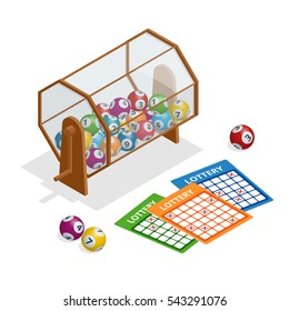 Lottery machine with lottery balls inside and lottery ticket isolated on white. Lotto bingo game luck concept vector illustration.