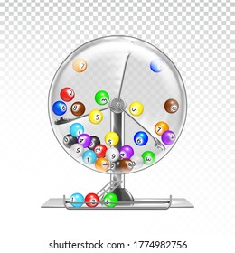 Lottery Machine With Lotto Balls Inside Vector. Lottery Wheel Drum Leisure Game Equipment. Gambling Money Device. Bingo Luck, Fortune And Chance Excitement Lifestyle Template Realistic 3d Illustration