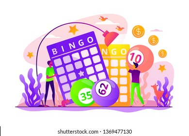 Lottery money game, lucky raffle ticket, bingo game and game of chance jackpot concept. Vector isolated concept illustration with tiny people and floral elements. Hero image for website.