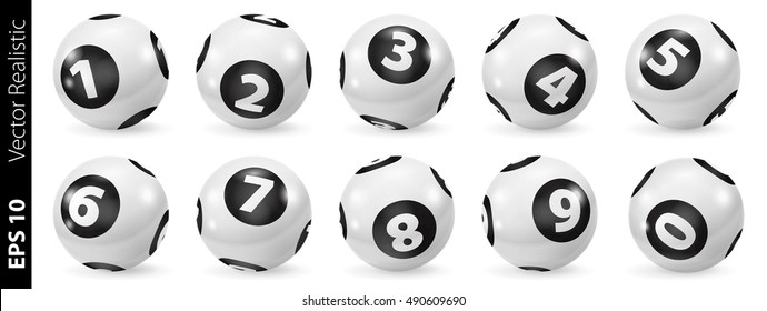Lottery Number Balls 3d. Black and white balls isolated. Set of black and white balls. Realistic vector. White Bingo Balls.