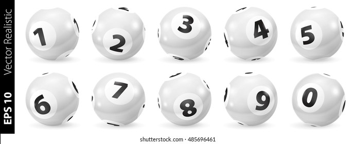 Lottery Number Balls. Black and white balls isolated. Bingo balls set.White Bingo Balls.