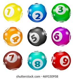 Lottery Number Balls isolated. Bingo  shiny balls with numbers. Set of colored balls.