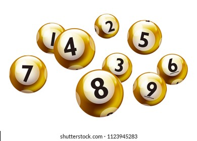 Lottery number balls isolated on white background set from 1 to 9.