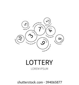 Lottery number balls line icon isolated on white background vector illustration.