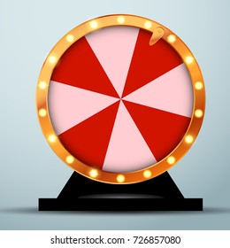 Lottery online casino fortune wheel in golden circle with red and white stripes. Realistic spinning bright roulette. Vector illustration