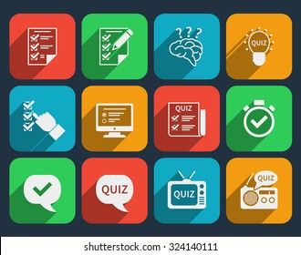 Lottery and quiz icons set. Game and play,  answer tv radio web, brain and mind, lightbulb and interrogation, vector illustation