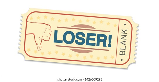 Lottery ticket saying LOSER and BLANK. Single raffle ticket with thumbs down symbol. Isolated vector illustration on white background.