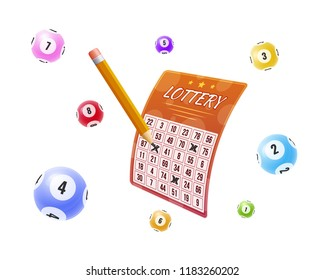 Lottery tickets, bingo, lotto, cash prizes. Balls with numbers for game, drawing prizes in lotto. Lottery with marked winnings numbers. Financial success, victory, winnings, luck. Vector illustration