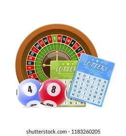 Lottery tickets, bingo, lotto, roulette. Balls with numbers for game, drawing prizes in lotto. Financial success, economic growth, prosperity, victory winnings luck Vector illustration