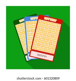Lottery tickets. Chance to win the jackpot. Gambling in the casino.Kasino single icon in flat style vector symbol stock illustration.