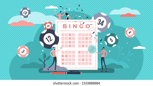 Lottery vector illustration. Flat tiny bingo game win luck persons concept. Gambling business and entertainment process. Bingo prize and lotto ticket investment. Casino bet opportunity excitement.