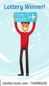 Lottery Winner Man Holding Plane Ticket. Millennial Character Flat Vector Art Design Illustration
