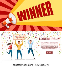 Lottery winner. Women and man stand with winner banner, 1000000. Happy people. Win million. Cartoon character design. Flat vector illustration on white background. Web site page and mobile app design.